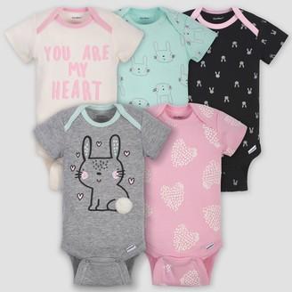 Gerber Baby Girls' 5pk Short Sleeve Bunny Bodysuits - Green/Pink/Gray