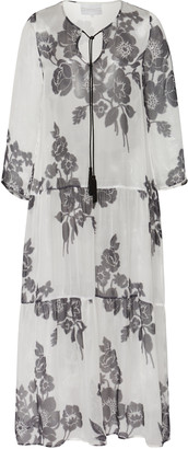 MARIE FRANCE VAN DAMME Printed Silk Maxi Dress