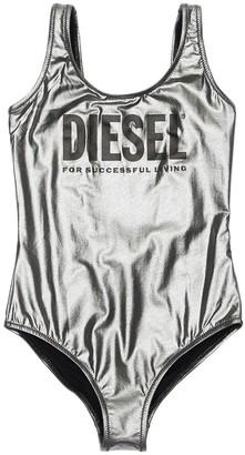 Diesel Logo Printed Metallic One Piece Swimsuit