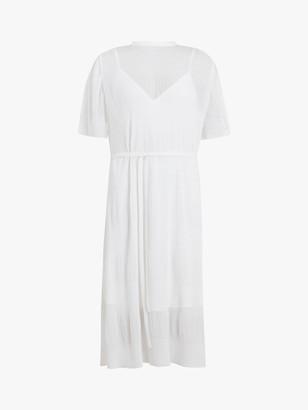 AllSaints Kano Round Neck Short Sleeved Dress, Chalk White