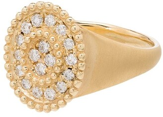 Kimai 18kt Yellow Gold Pave Diamond Signet Ring