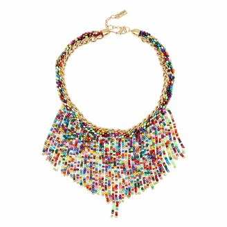 Jessica Simpson Woven Beaded Fringe Statement Necklace