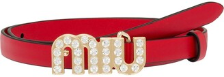 Miu Miu City crystal logo belt