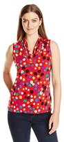 Anne Klein Women's Dot Print Triple Pleat Top