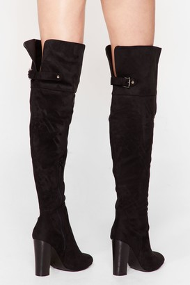 Nasty Gal Womens Move On Over-the-Knee Faux Suede Boots - Black - 3