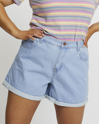 You & All - Women's Blue Denim - Plus Relaxed Shorts - Size One Size, 18 at The Iconic