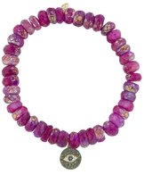 Sydney Evan Diamond Eye Charm On Ruby Moonstone Beaded Bracelet
