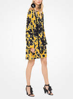 Michael Kors Floral Crepe De Chine Shift Dress With Pareo
