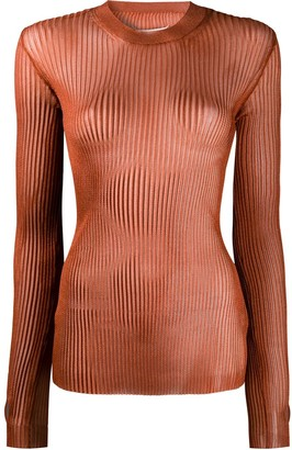 Maison Margiela Metallic Ribbed Knitted Top