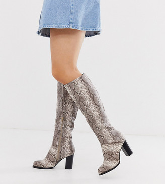 Truffle Collection wide fit heeled pull on boots in snake-Multi