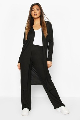boohoo Soft Rib Cardigan & Trouser Co-Ord