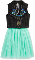 Beautees 2-Pc. Mesh Skirt Dress & Vest Set With Coordinating Necklace, Big Girls (7-16)