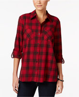 Style&Co. Style & Co. Petite Floral-Back Plaid Shirt, Only at Macy's
