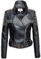 LingLuoFang LLF Women's Faux Leather Studded Punk Style Cropped Jacket Black (16B1665)