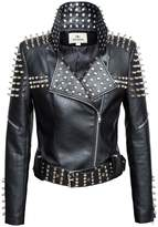 LingLuoFang LLF Women's Faux Leather Studded Punk Style Cropped Jacket Black Small (16B1665)