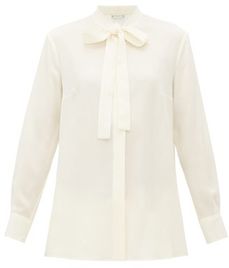 Etro Pussy-bow Silk-georgette Blouse - Womens - Ivory