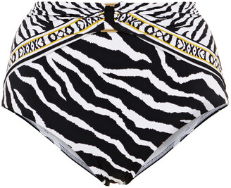 Jets Embellished Zebra-print High-rise Bikini Briefs