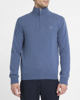 Gant Blue Lambswool Zip-Neck Sweater