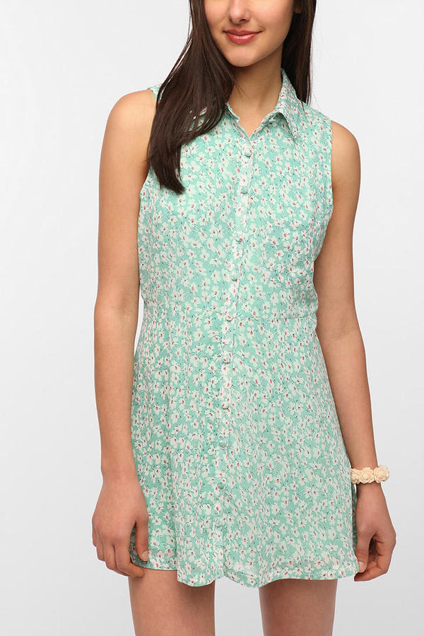 Lucca Couture Printed Sleeveless Chiffon Shirtdress