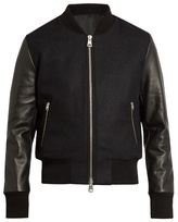 Ami Zip-through Wool-blend And Leather Jacket