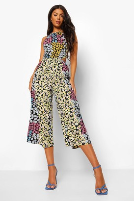 boohoo Floral Tie Neck Cut Out Cropped Jumpsuit