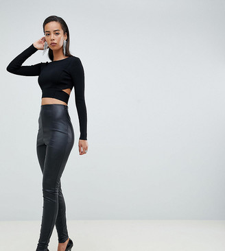ASOS DESIGN Tall spray on leather look pants