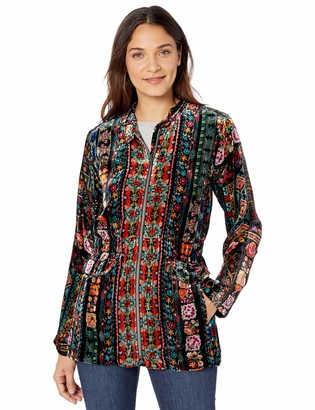 Johnny Was Women's Silk Velvet Printed Fitted Jacket