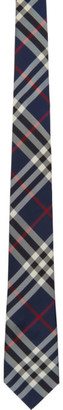 Burberry Navy Silk Modern Cut Vintage Check Tie
