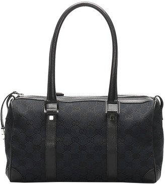Gucci Black GG Canvas and Leather Boston Bag