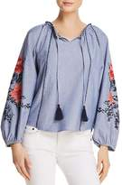 Parker Laureena Embroidered Chambray Top