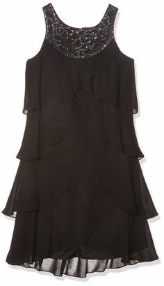 SL Fashions Women's Sleeveless Tiered Cocktail Dress