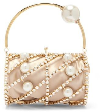 Rosantica Brigitta Pearl And Crystal-embellished Satin Bag - Nude Multi