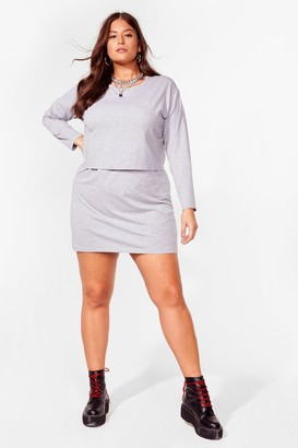 Nasty Gal Womens When Two Becomes One Plus Tee Dress - Grey Marl