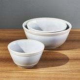 Crate & Barrel Mosser Marble Mixing Bowls Set of Three