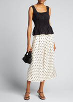 ADAM by Adam Lippes Printed Pleated Culotte Pants