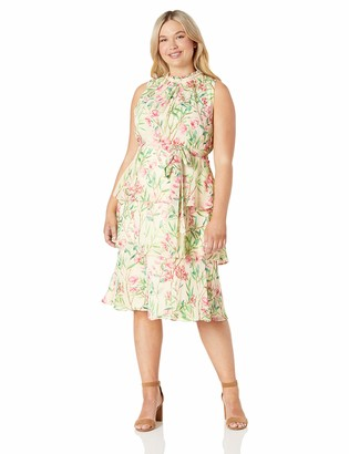 Jessica Howard JessicaHoward Plus Size Womens Sleeveless High Neck Fit and Flare Dress