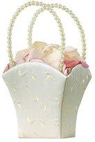Lillian Rose Embroidery Elegant Wedding Flower Basket, 8.5-Inch, Ivory