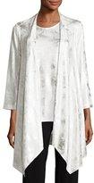 Caroline Rose Silver Cloud Drape-Knit Cardigan, White/Silver, Petite