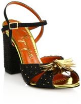 Charlotte Olympia Sequin-Embellished Raffia Sandals