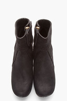 Rick Owens Black Brushed Suede Wedge Ankle Boots