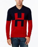 Tommy Hilfiger Men's Colorblocked V-Neck Logo Sweater