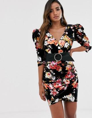 Bronx and Banco Bronx & Banco saint printed velvet puff sleeve mini dress