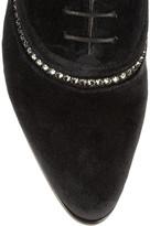 Lanvin Crystal-embellished velvet Derby brogues