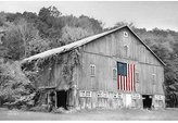ArtExpert Patriotic Farm II By Lori Deiter - 27 x 18 Premium Gallery Stretched Canvas Ready to Hang