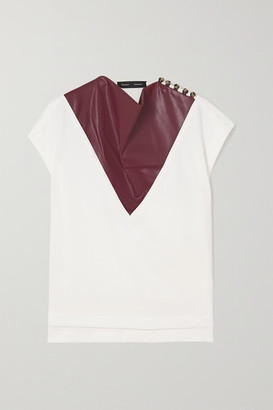 Proenza Schouler Draped Crepe And Faux Leather Top - White