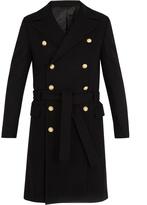 Balmain Double-breasted wool-blend military coat
