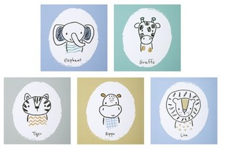 Trend Lab Safari Yearbook Canvas Wall Art 5 Pack