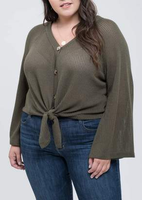 Blu Pepper Button Down Bell Sleeve Top (Plus Size)
