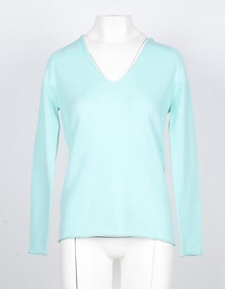 Lamberto Losani Aqua Cashmere Women's V-Neck Sweater