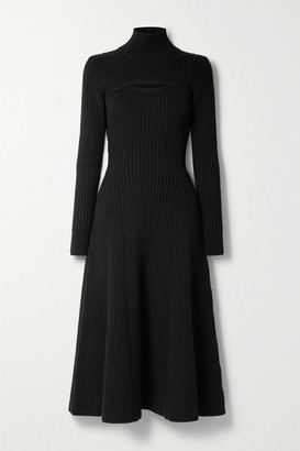 Rosie Assoulin Thousand In One Ways Convertible Ribbed Wool Turtleneck Midi Dress - Black
